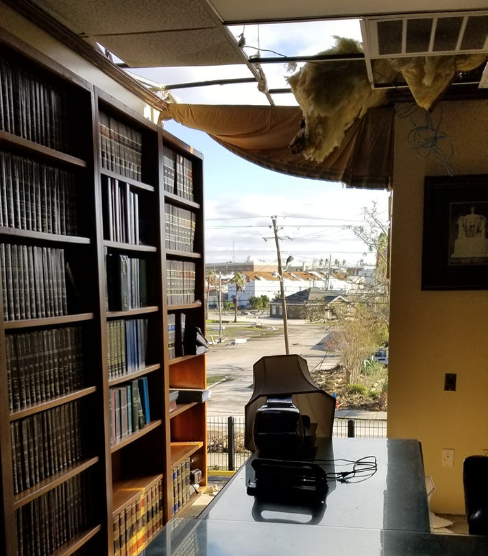 Windows and a portion of the roof were ripped from the law library at the courthouse in Panama City after Hurricane Michael plowed through the Florida panhandle.