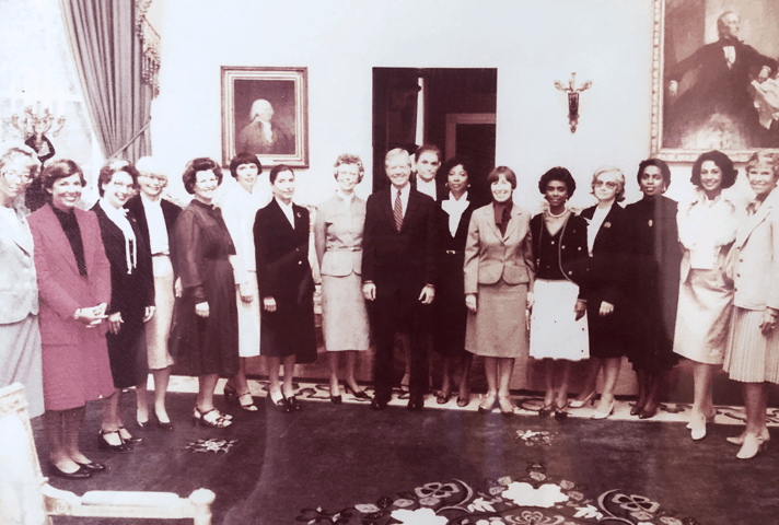 Image: In 1980, President Jimmy Carter met with members of the new National Association of Women Judges, many of whom he had appointed to the federal bench.