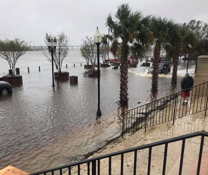 Flooding caused by Hurricane Florence reached the courthouse steps in Wilmington, N.C.