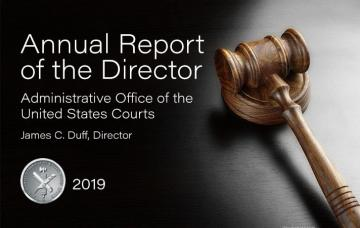 Annual report cover featuring a gavel.