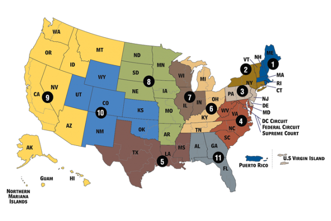 The U.S. Federal Court Circuit Map color coded by Districts.